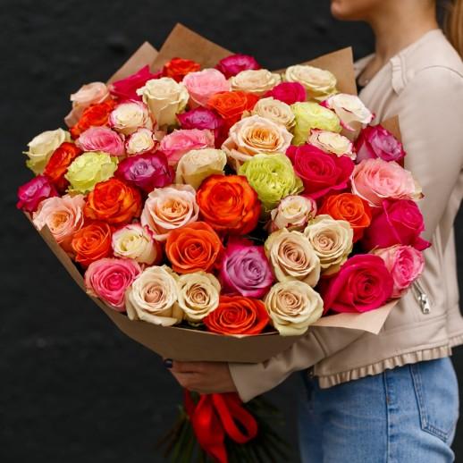 Букет из 51 розы разного цвета № 351