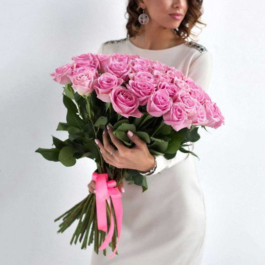 Букет из 51 розовой розы № 352