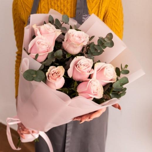 Букет из 7 розовых роз № 294